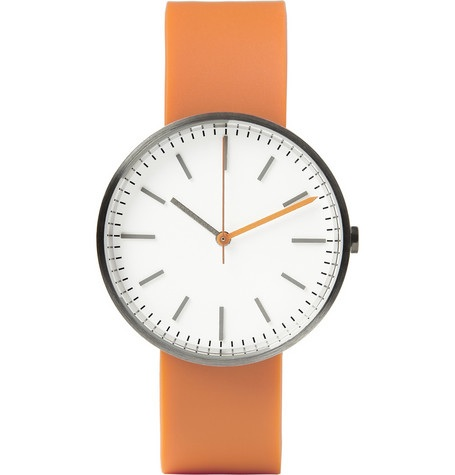Uniform Wares 104 series brushed-steel wristwatch, image courtesy of www.MRPORTER.com