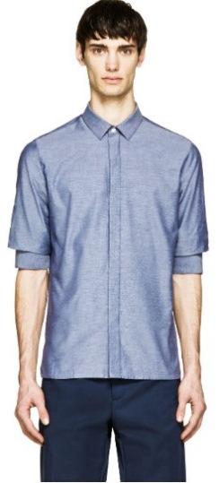 https://www.ssense.com/en-us/men/product/krisvanassche/blue-chambray-gathered-sleeve-shirt/884703